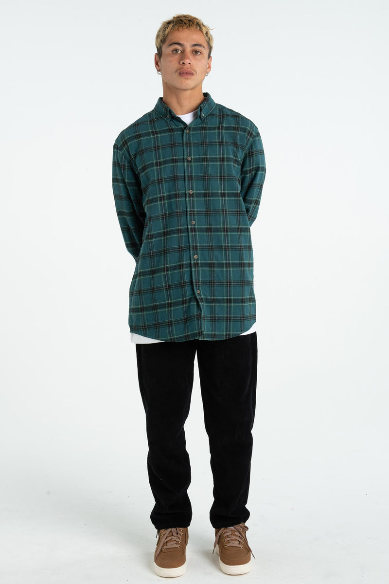 Mens Raf Shirt - Phat Tag - Forest Green Plaid