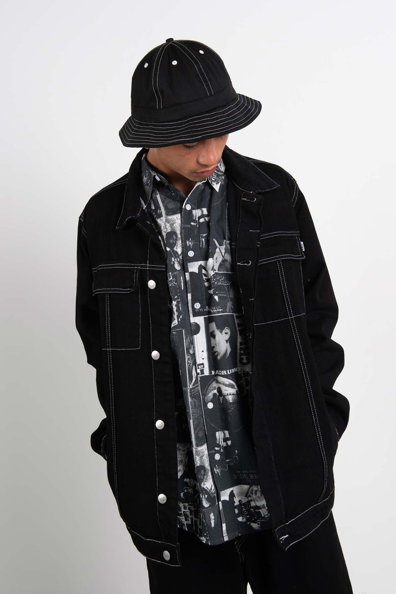 Mens Rinse Jacket - Applebox - Black/White Contrast Stitching