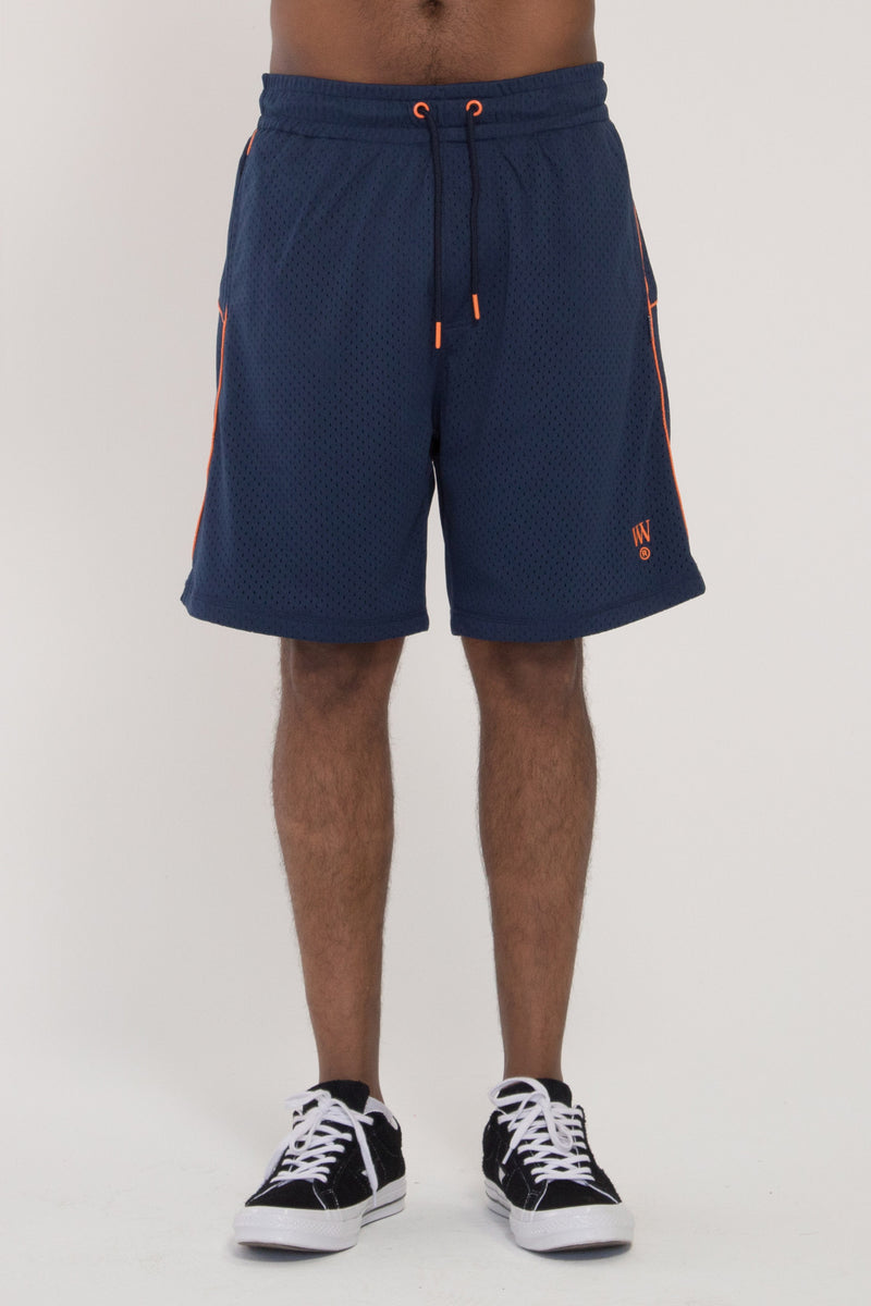 Snell Shorts - Navy Mesh/Orange Trim