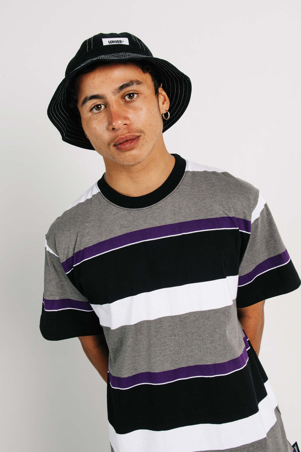 Standard Tee - Phat Tag - Grey/White/Black Stripes