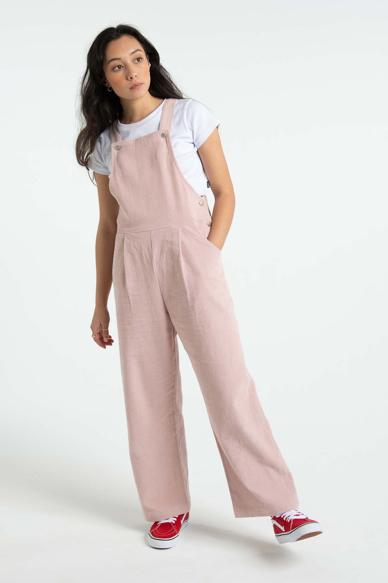 Womens Sally Cord Overalls - Dusty Pink
