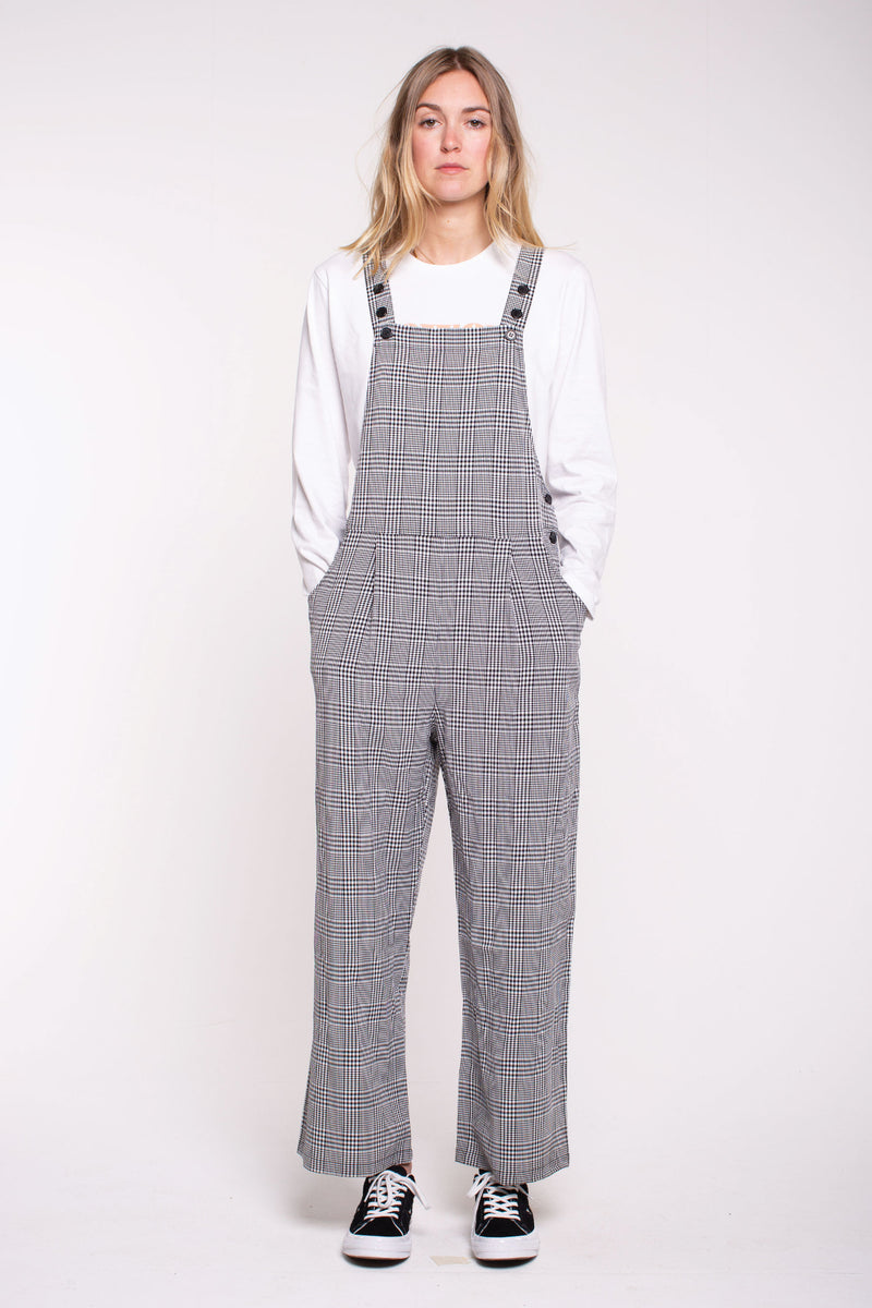 Sally Overalls - Black/White Plaid