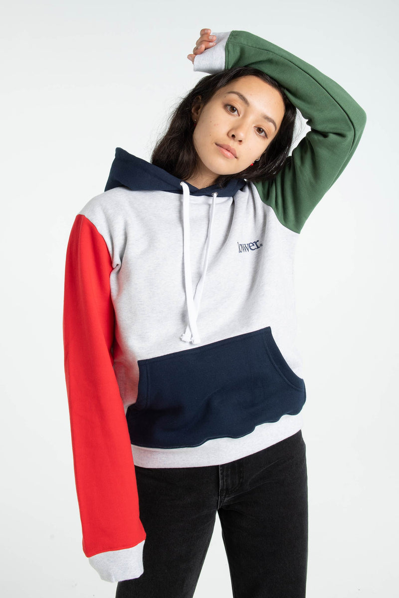 Womens Semester Hood - Applebox - Silver Marle/Green/Red/Navy