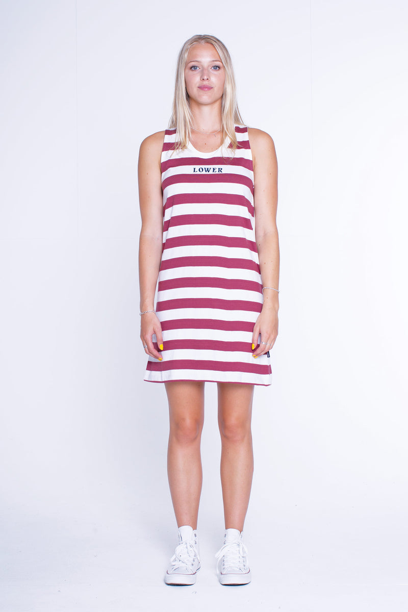 Womens Singlet Dress - Maroon/White Stripe