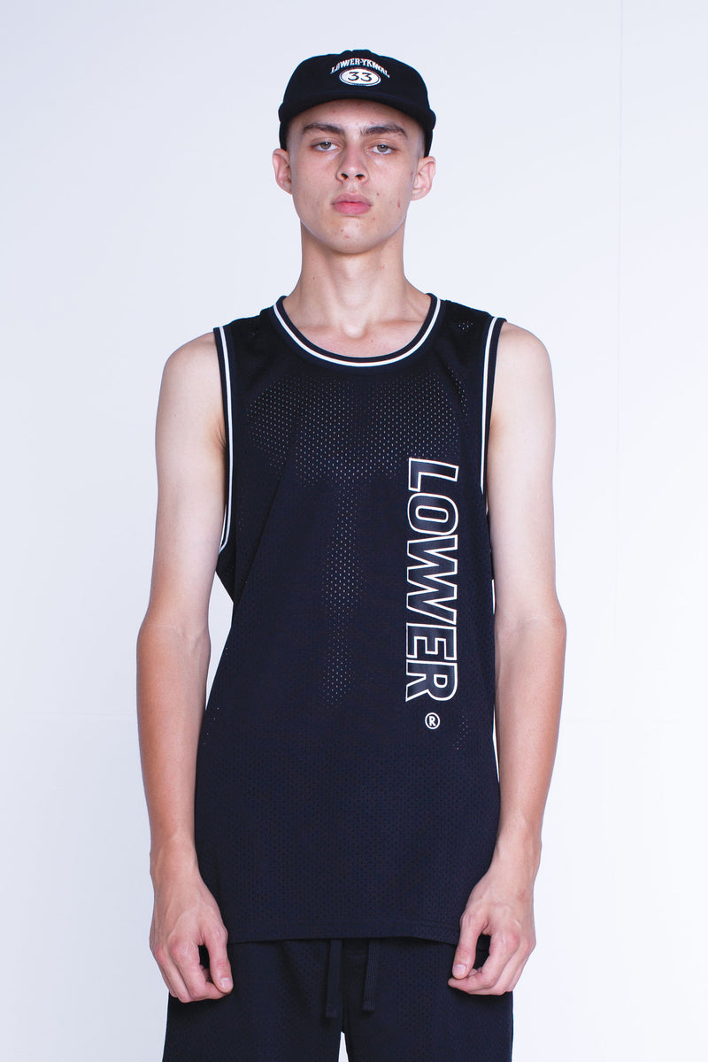 Mens Layer Bball Singlet - Swish - Black