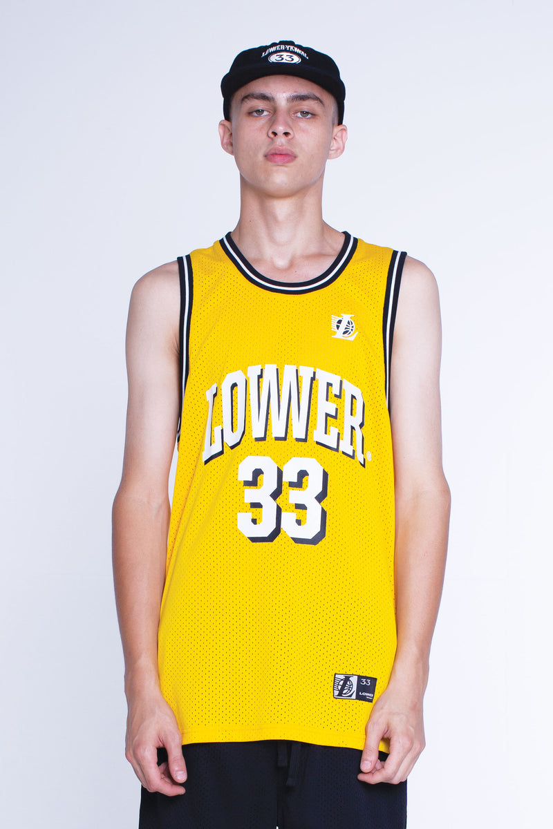 Mens Layer Bball Singlet - The Bird - Gold