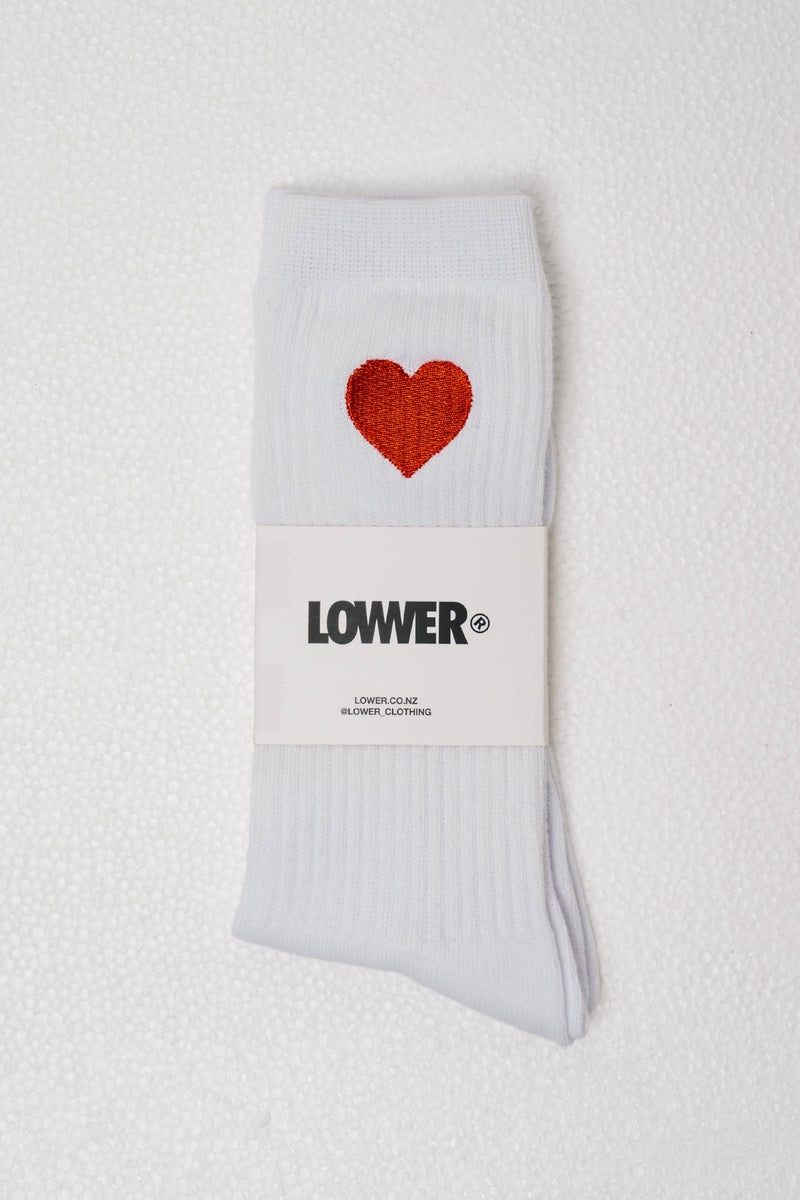 Easy Sock - Heart - White