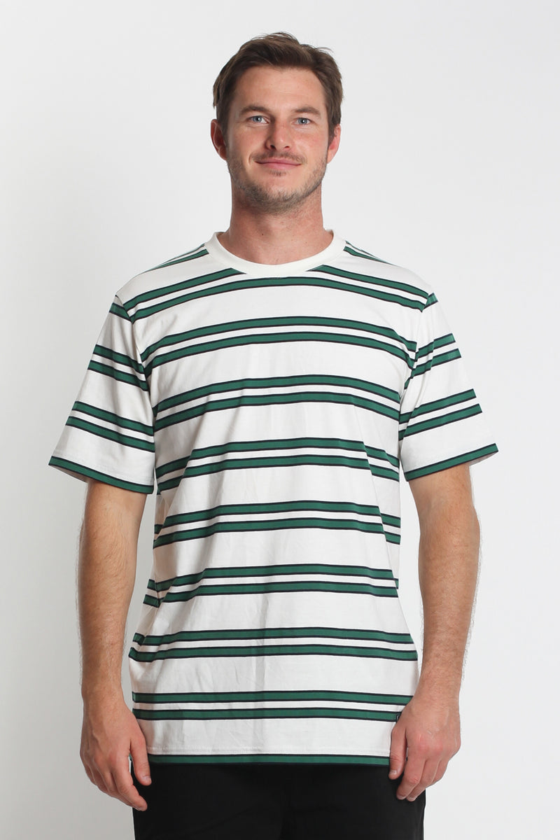 Stripe QRS Tee - White/Green