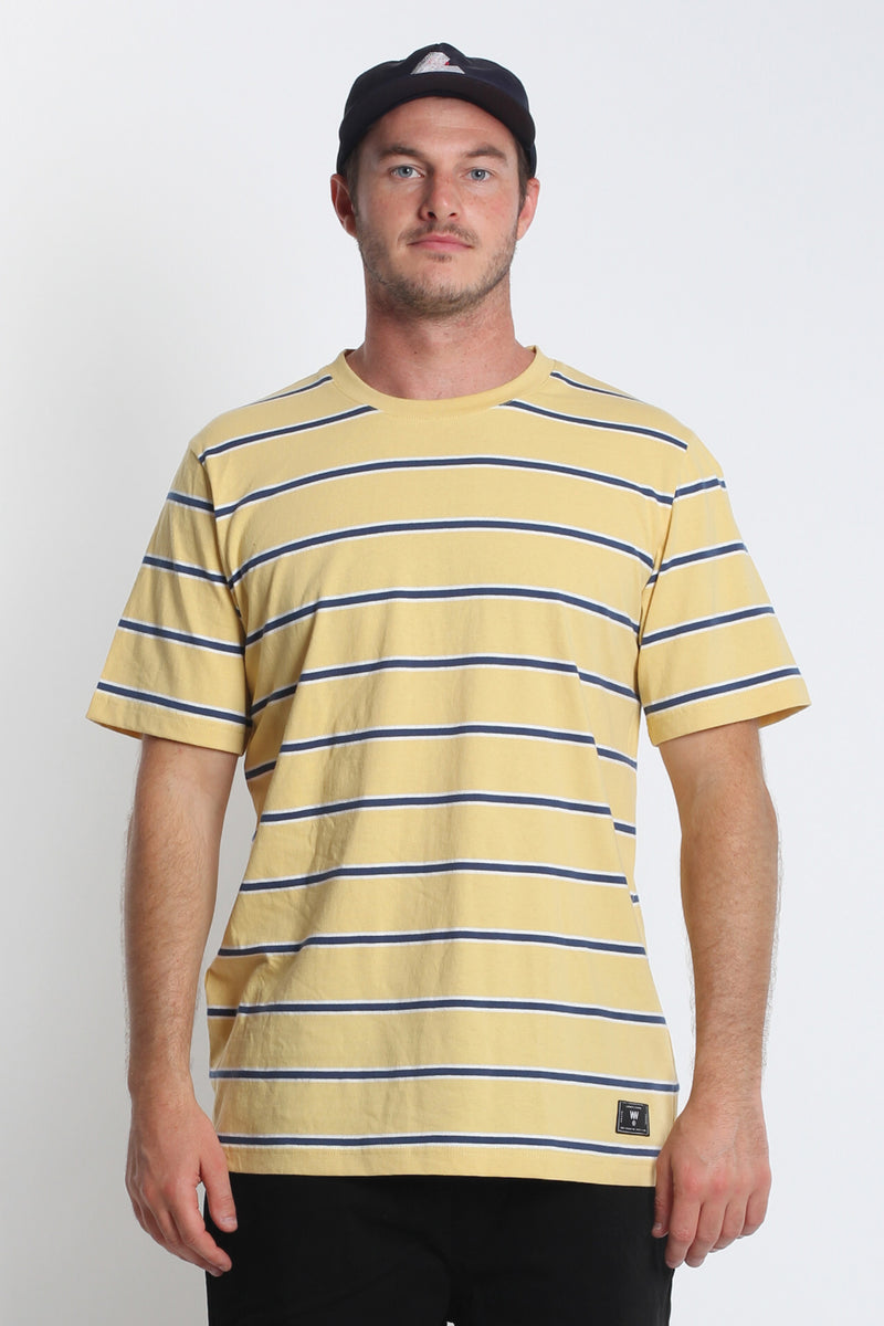 Stripe QRS Tee - Yellow/Navy