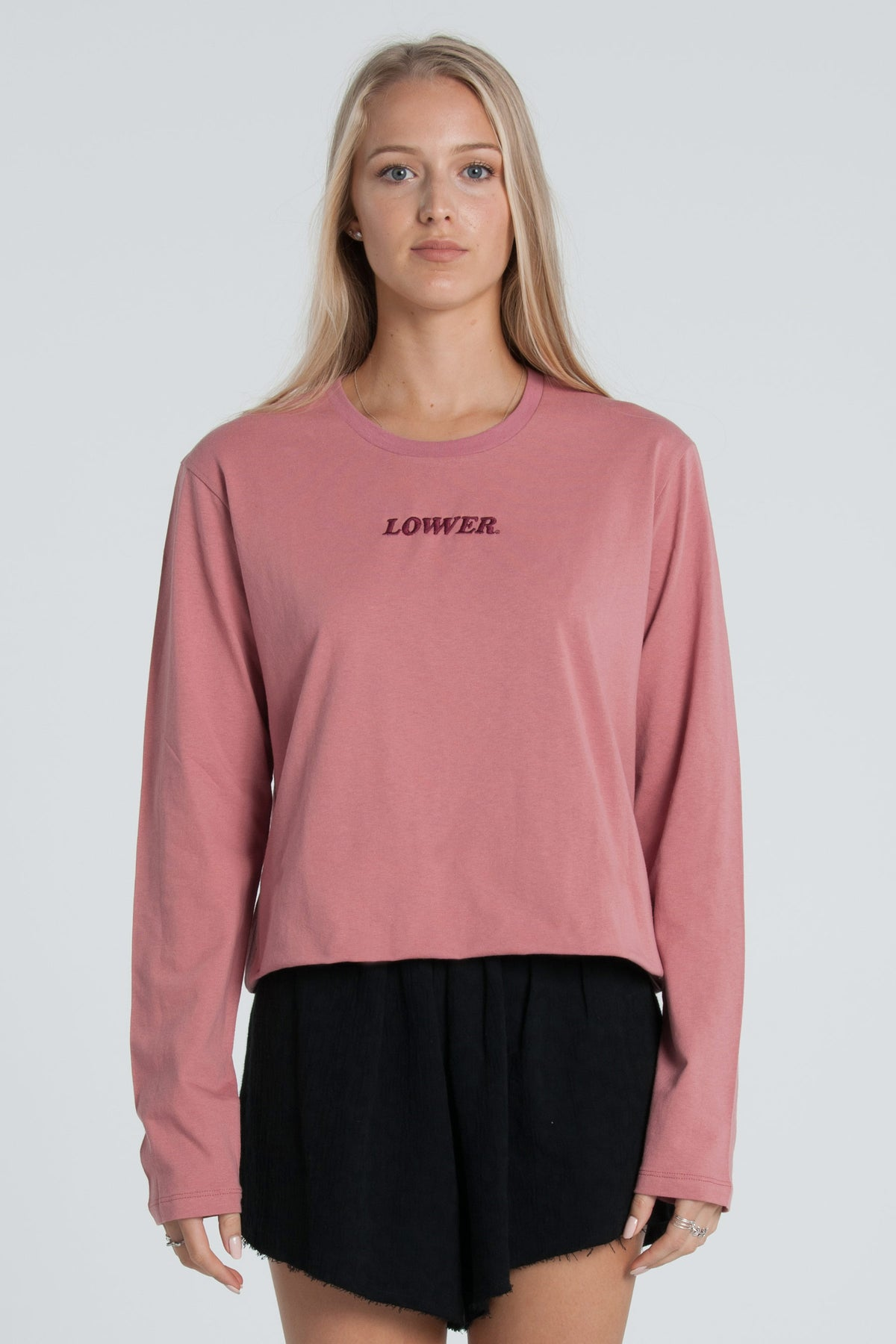 Cherry Ripe Cropped LS Tee - Rose