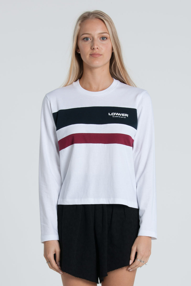 Euro Cropped Panel LS Tee - White/Navy/Maroon