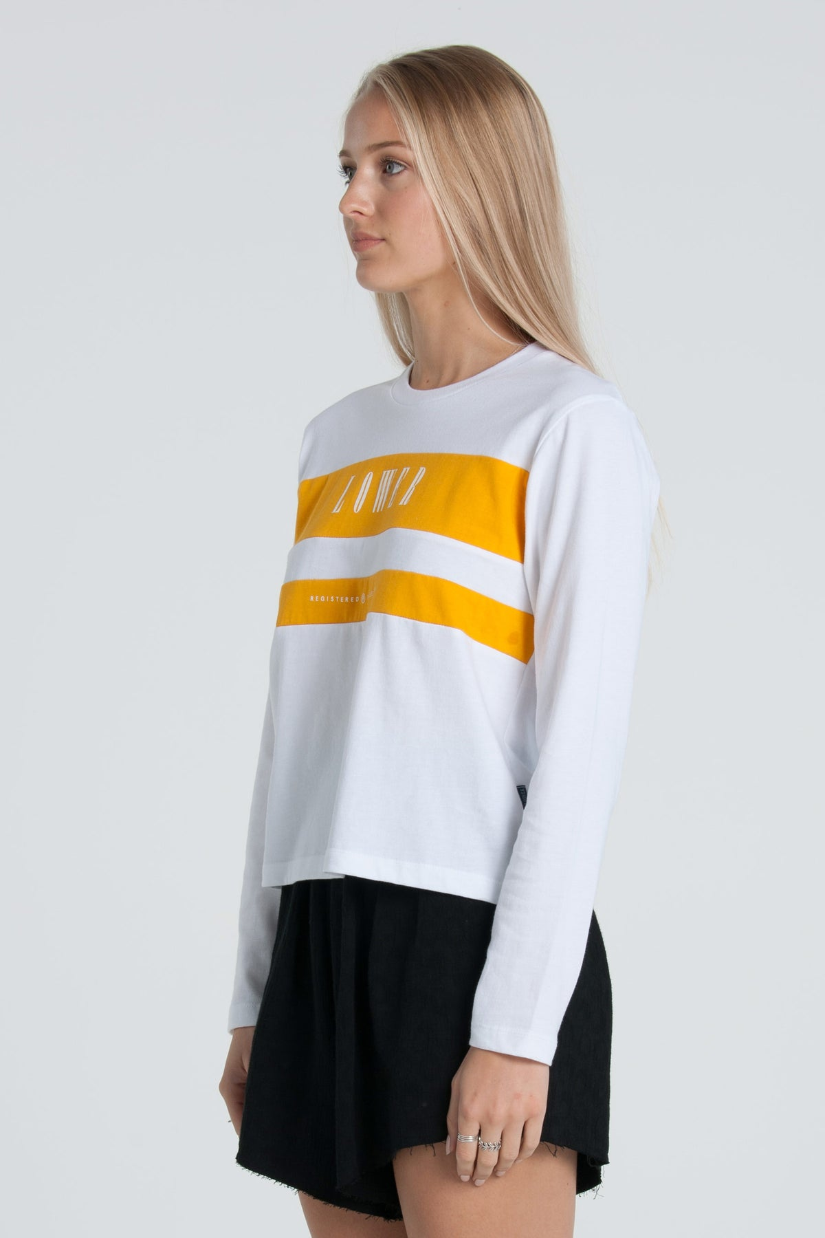 Juniper Cropped Panel LS Tee - White/Gold