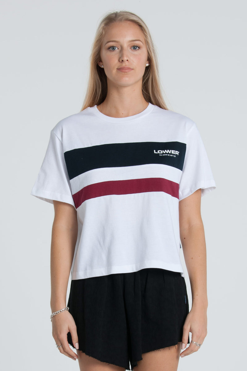 Euro Cropped Panelled Tee - White/Navy/Red