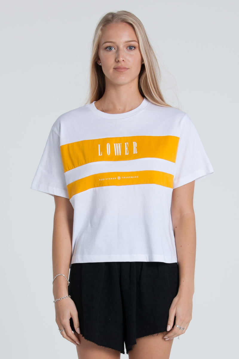 Juniper Cropped Panelled Tee - White/Gold