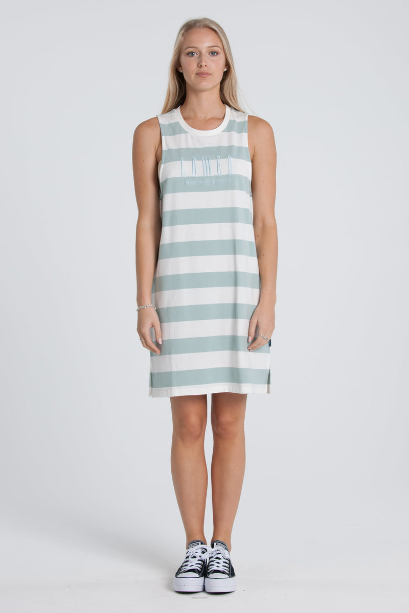 Matilda Day Dress - Sage/White Stripe