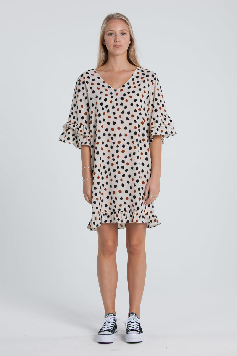 Marley Dress - White/Spot