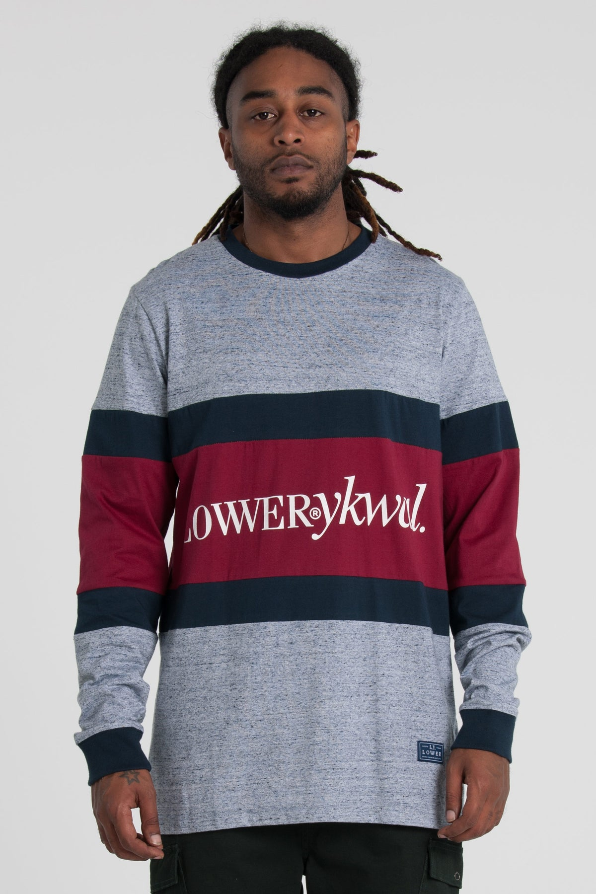 Times Panel LS Tee - Grey/Navy/Red