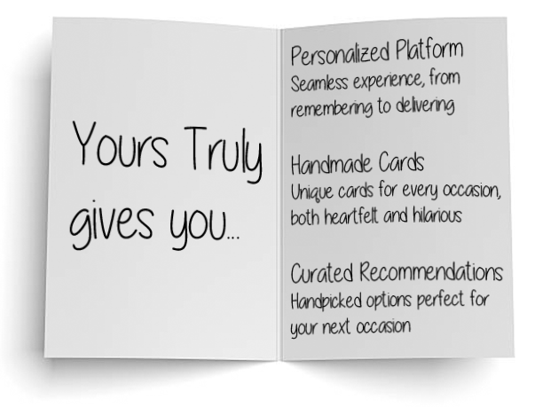 Yours Truly personalized platform handmade cards curated recommendations