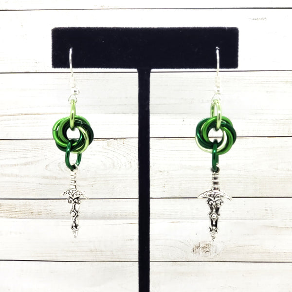 Mystery Color Swirl Dagger Earrings