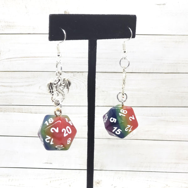 Rainbow Dragon Nat20 Earrings