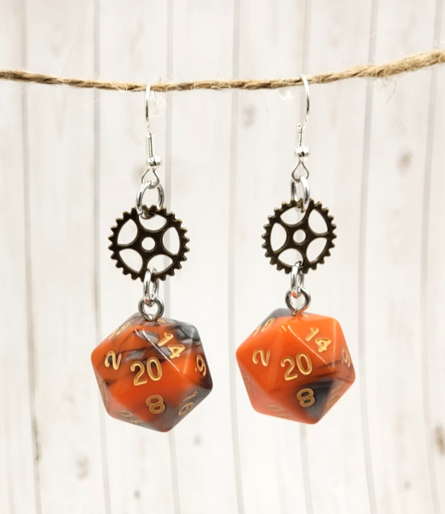 Orange and Steel Swirl Cog Earrings - Benefits Wheelchairs4Kids