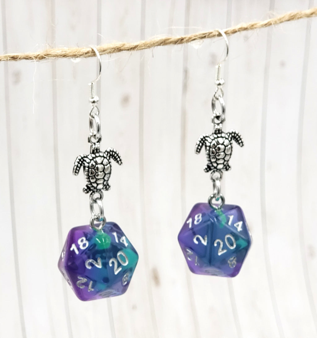 Mermaid Turtle Nat20 Earrings - Benefits Hawaii Wildlife Fund