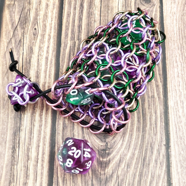 Flower Garden Single Set Chainmaille Dice Bag