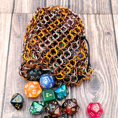 Peanut Butter Cup Swirl Large Chainmaille Dice Bag