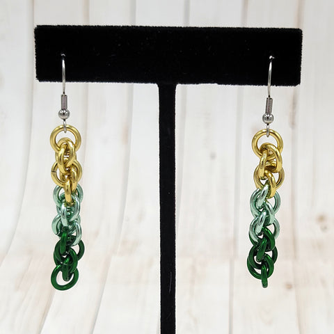 Green Gradient Twist Earrings