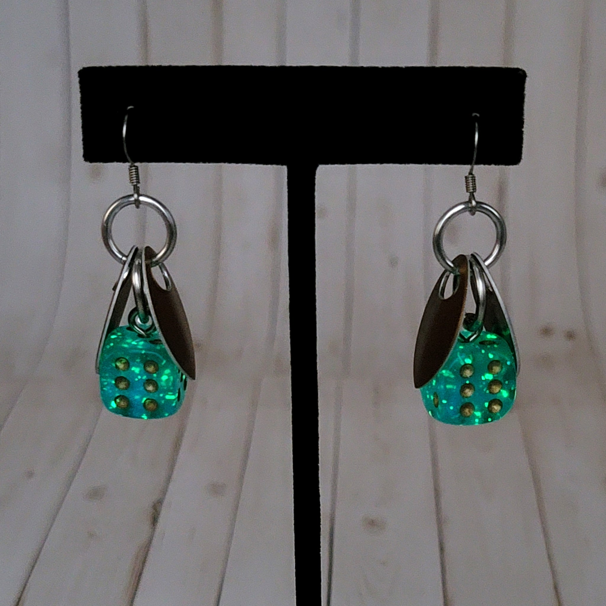 Luminary Borealis Teal Sprite 12mm D6 Earrings