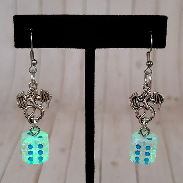 Luminary Borealis Icicle Dragons 12mm D6 Earrings
