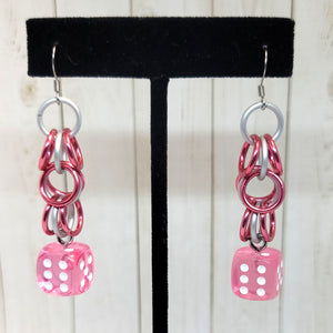 Translucent Pink Shaggy Chain 12mm D6 Earrings