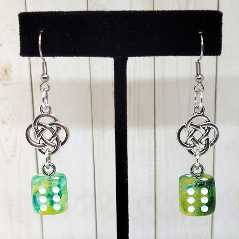 Nebula Luminary Spring Celtic Knot 12mm D6 GLOW Earrings