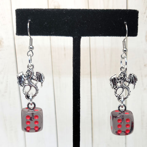 Translucent Smoke/Red w/Dragons 12mm D6 Earrings