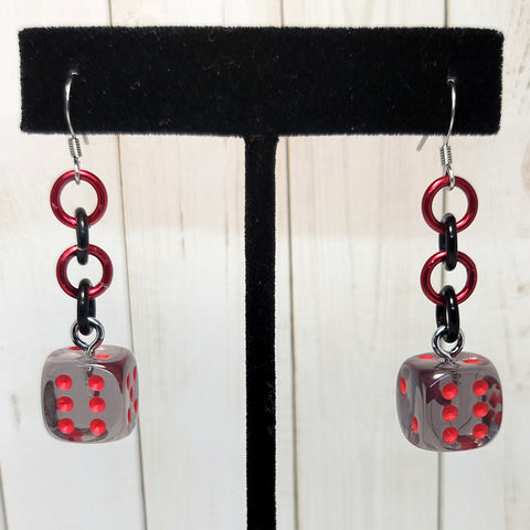Translucent Smoke/Red Simple 12mm D6 Earrings