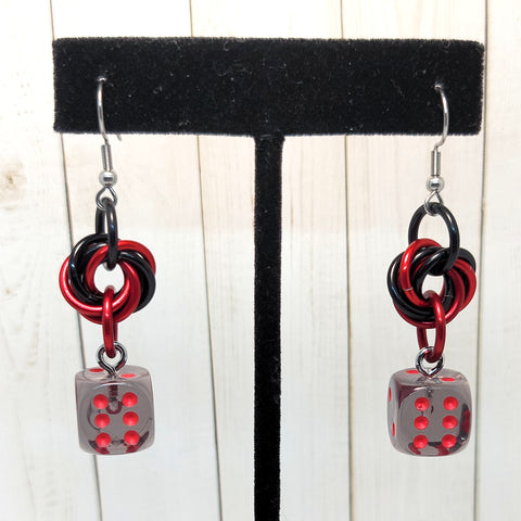 Translucent Smoke/Red Mobius Swirl 12mm D6 Earrings