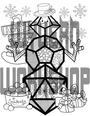 DIGITAL DOWNLOAD - Dice Snowfolk Coloring Page