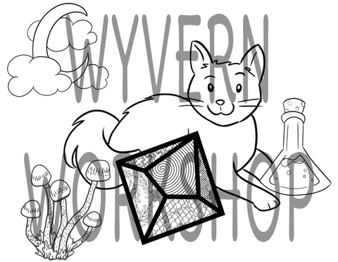 DIGITAL DOWNLOAD - D10 Witchy Cat Coloring Page - Benefits Tomcat Solutions