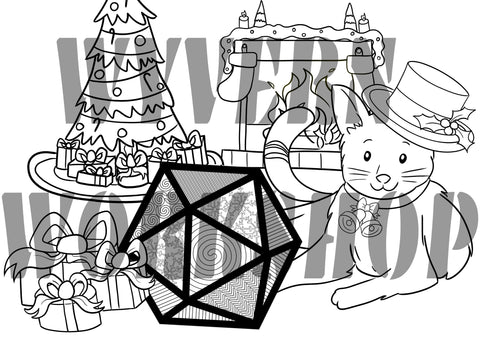 DIGITAL DOWNLOAD - D20 Christmas Cat Coloring Page - Benefits Tomcat Solutions