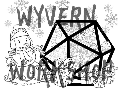 DIGITAL DOWNLOAD - Winter Wonderland D20 Coloring Page