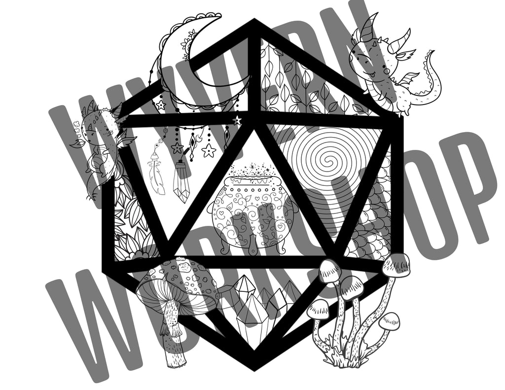 DIGITAL DOWNLOAD Witchy Nat20 Coloring Page