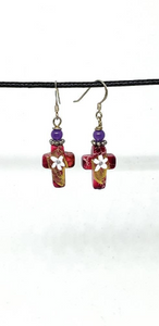 Red with White Flower One of a Kind Hand Painted Small Cross Earrings