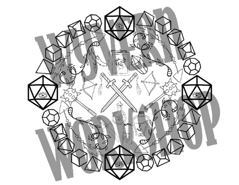 DIGITAL DOWNLOAD - DnD Round Dice and Weaponry Coloring Page