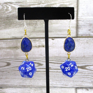 Lapis Lazuli and Blue Shimmer Nat20 Earrings
