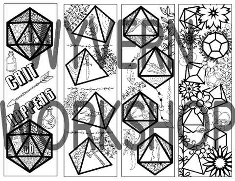 DIGITAL DOWNLOAD - DnD Dice Coloring Bookmarks Set 1