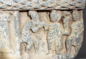 Gandhara curved stone panel from a stupa drum