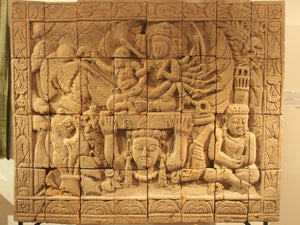 Javanese terracotta panel 14th-15th century. Abduction of Sita.