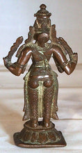 Load image into Gallery viewer, Bronze statue of a four-armed Deva, south India