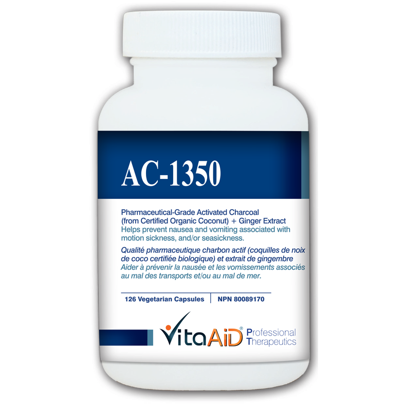 AC-1350  Activated Charcoal (from Certified Organic Coconut) with Ginger Extract 126 veg caps - iwellnessbox