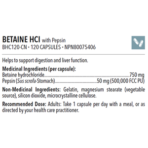 BETAINE HCL WITH PEPSIN 120 caps